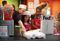JA BizTown students working at the Chick-fil-A Snack Shop