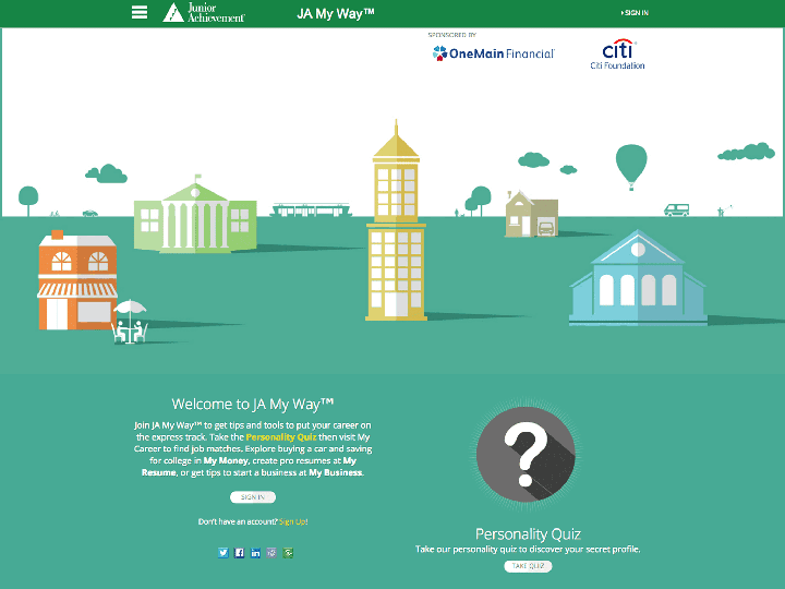 ja apps junior achievement usa ja my way provides tips and tools to put students careers on the express track they ll take a personality quiz then my career to job matches