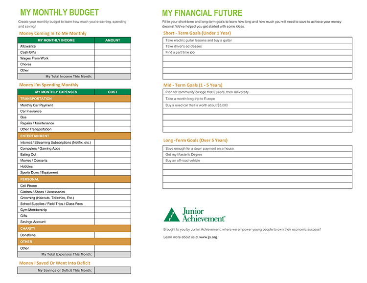 Junior Achievement Printable Budget Sheet
