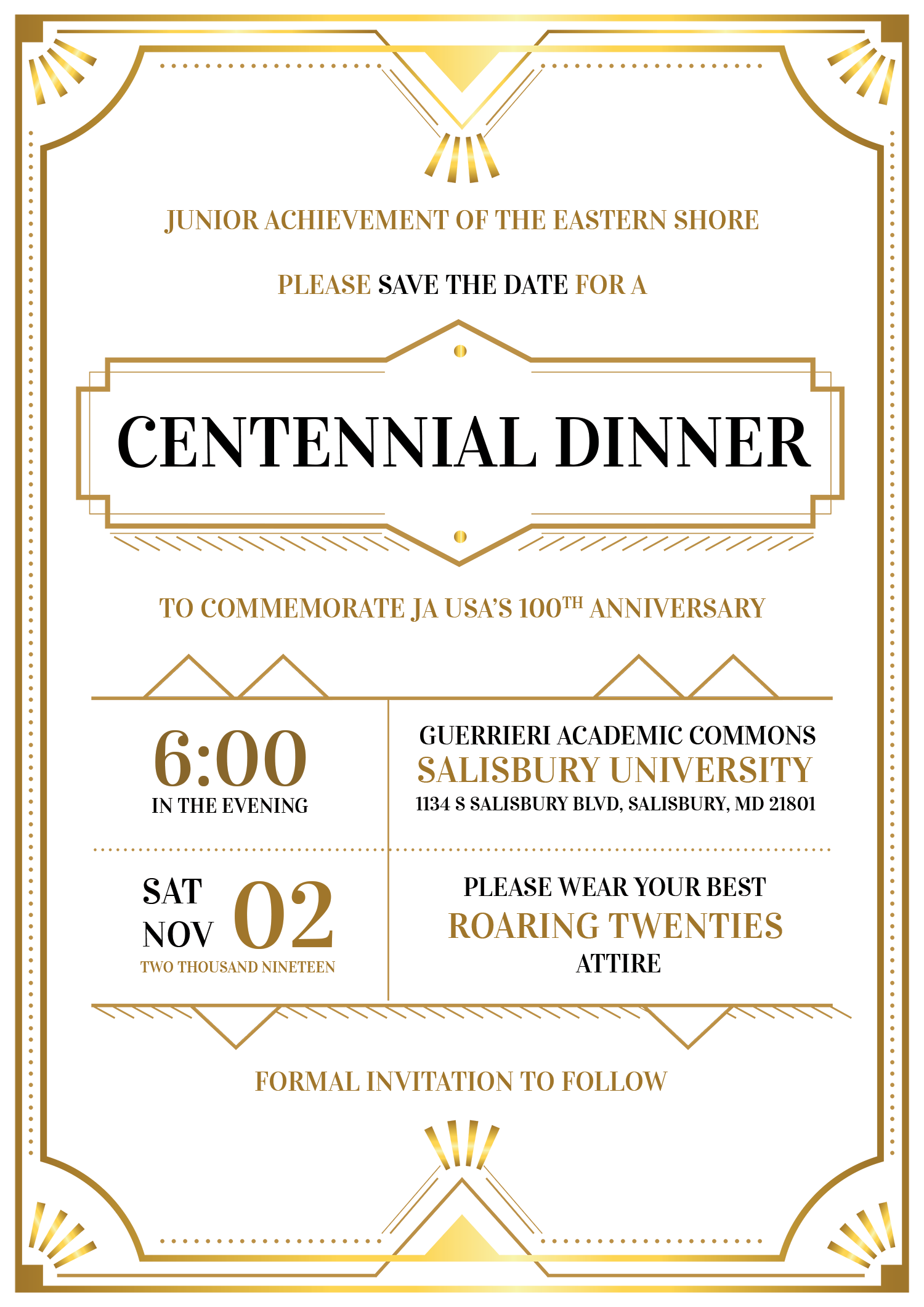 JA Centennial Dinner Save The Date
